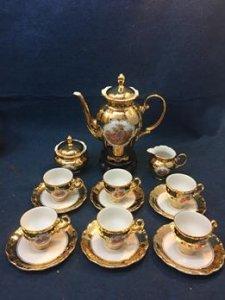 Bộ trà Bavaria Germany 24k .Hàng xưa sản xuất 1920-1940s.Kiểu dáng sang trọng.