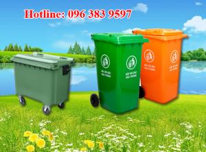 thùng rác nhựa hdpe 240 lít giá rẻ, thanh lý thùng rác công nghiệp, xe đẩy rác 660 lít