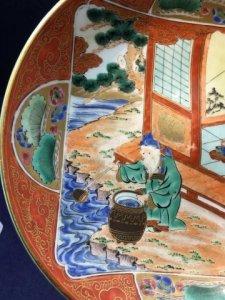 Dĩa kutani thời EDo 1800-1850.vẽ tay.vẽ cảnh nấu nước uống trà.