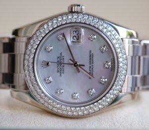( sold) Đồng hồ nữ Rolex Date Just 81339 mặt trai, vàng trắng 18k
