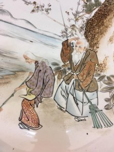 Dĩa Ông Tơ Bà Nguyệt, dòng Kutani sản xuất Tk 19. Vẽ tay.viềng vàng.
