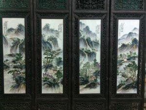 """Còn bộ tranh sứ giả cổ Giang Tây vẽ thích """" Chim hoa"""" khung gỗ thịt ko cong vênh hay mối mọt Cao 1,2"""