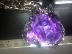 Phật di lặc thạch anh tím bọc bạc