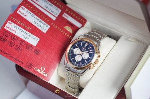 Omega Seamaster AquaTerra Chronograph Demi 18k Rose Gold size 42mm, đo nhịp tim.