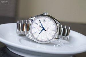 OMEGA Aqua Terra Co-Axial White Dial Stainless Steel Men's Watch - kim nung xanh rất đẹp.