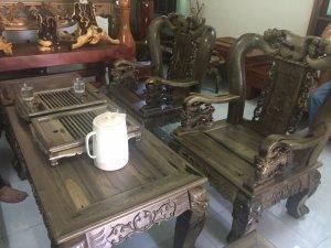 Bộ bàn ghế minh đào gỗ MUN XANH cực hiếm rừng Ninh THuận
