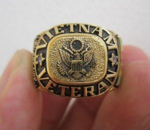 Nhẫn bạc khối Cựu binh bộ binh tham chiến tại Việt Nam, lớp áo vàng cực mới và đẹp