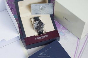 LONGINES Master Collection Multi-Function Black Dial Black Leather Men's Watch