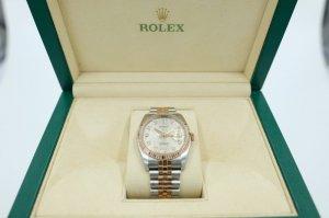 Đồng hồ Rolex 116231 Demi vàng hồng 18k, mặt vi tính trắng cọc số kim cương