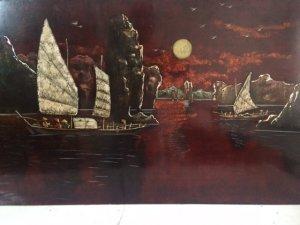 Tranh sơn mài xưa tích Thuận buồm xuôi gió
