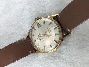 """Omega Constellation Pie Pan Chronometer """"dog leg"""" demi 14k gold Cal561 White dial"""