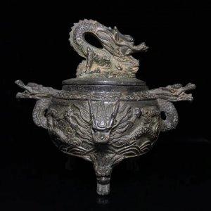 Đỉnh đồng xông trầm Đại Minh Tuyên Đức tam túc hai tai đúc song long.
