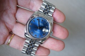 ROLEX Oyster Perpetual 36 mm Blue Dial Stainless Steel Jubilee Bracelet Automatic Men's Watch
