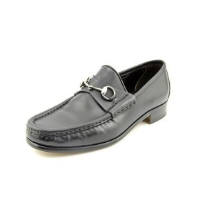 Gucci Mens Shoes Black Leather Horsebit Loafers EU 42 EJ !!!