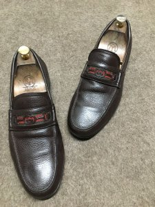 "GUCCI Brown Monogram Logo Horsebit Loafers Shoes sz 8""5 !!!"