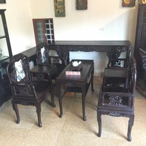 bộ bàn ghế vách nho gỗ gụ