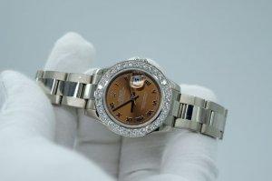 sold - Đồng hồ nữ Rolex 179179 mặt nâu vàng trắng 18k lên vành