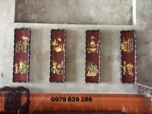 Tranh tứ quý cổ đồ sơn son thiếc vàng kt cao 98 rộng 28 cm gỗ kháo  0979 839 286