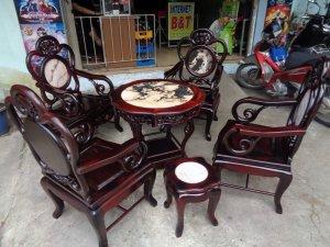 Bộ bàn ghế guột nho gỗ trắc 7 món