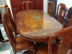 Bộ bàn ăn gõ đỏ lào 8 ghế