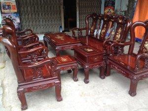 Bộ salon gỗ căm xe lâu năm  gõ 8 món