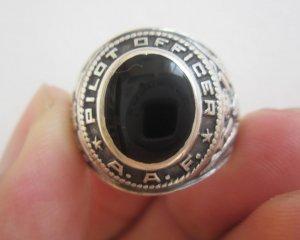 Nhẫn bạc khối, phi công Hoa Kỳ, hột đá đen thiên nhiên, form xưa, rất nặng bạc, hiếm và đẹp
