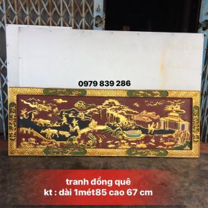 Tranh đồng quê sơn son thiếc vàng gỗ kháo - Lh 0979 839 286