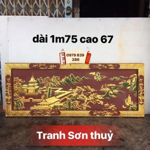 Tranh sơn thuỷ sơn son thiếc vàng + LH 0979 839 286