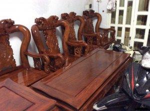 bộ salon triện tay 10  gỗ hương  việt. 12 món