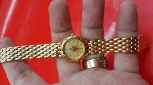Đồng hồ PULSAR quart nữ, dây vỏ lacke vàng
