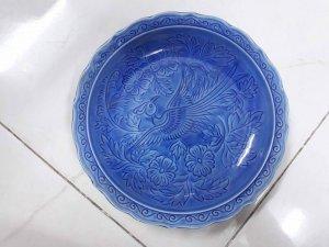 Bán 4 đĩa Nhật cũ men xanh hình chim có triện