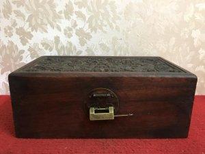 Rương gỗ song long chầu nguyệt rất đẹp, kích thước: Ngang 25/15 giá cực mềm ạ!