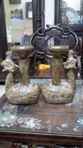 Đôi chân nến sứ (đồ đào)cao 22cm ngang 14cm