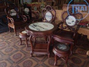 Bộ ghế guột nho gỗ gụ 6 món