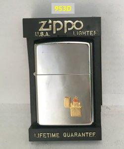 Z.953D-hp chrome 1995 -Emblem logo ZIPPO mạ vàng