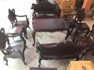 bộ bàn ghế louis kiểu tây âu kính phố