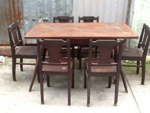 bộ bàn ăn xưa 6 ghế gõ