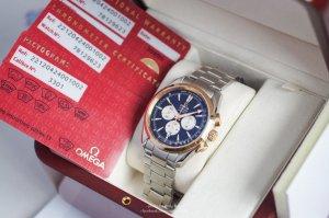 Omega Seamaster AquaTerra Chronograph Demi 18k Rose Gold size 42mm, đo chịp tim.
