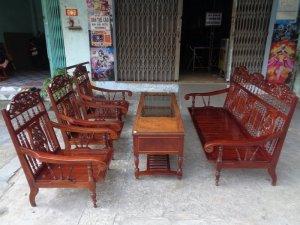 Bộ ghế tay cuộn cẩm lai gõ 7 món