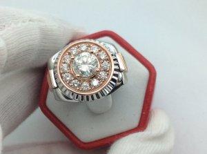 Nhẫn Nam rolex vàng trắng và hồng gắn kim cương thiên nhiên H10182