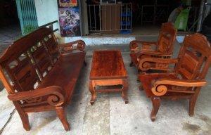 Bộ ghế tay cuộn cẩm lai gõ 4 món