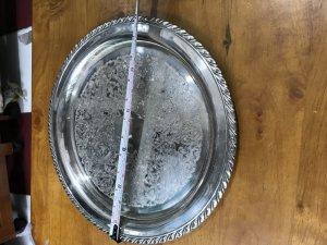Mâm Tròn Hoa Văn Chìm ĐK 31cm- Lắc Kê Bạc - Đồ Xưa -