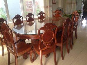 Bộ bàn ăn gỗ gõ lào 10 ghế
