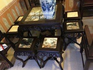 Bộ louis kiểu pháp gỗ gụ,bàn cao 82 mặt 75-ghế cao 50 mặt 35 cm-0979839286 - http://dogominhchi.com