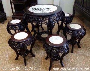 gl_Bộ ghế hoa mai_gỗ gụ - bàn cao 80 mặt 80 cm,ghế cao 80 mặt 35 cm alo 0979 839 286 - http://dogomi