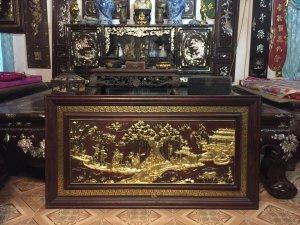 Bức tranh Đồng Quê sơn son thiếp vàng italy