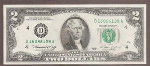 2$ Cổ May Mắn Xưa năm 1976 seri đẹp đuôi thần tài lộc phát