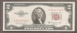 Tiền 2$ cổ năm 1953 seri đẹp thần tài lộc phát