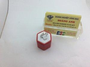 Nhẫn nữ vàng trắng 14k gắn kim cương thiên nhiên  H10181