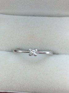 Nhẫn Nữ vàng trắng PNJ 14k Gold Princess Diamond  h10038